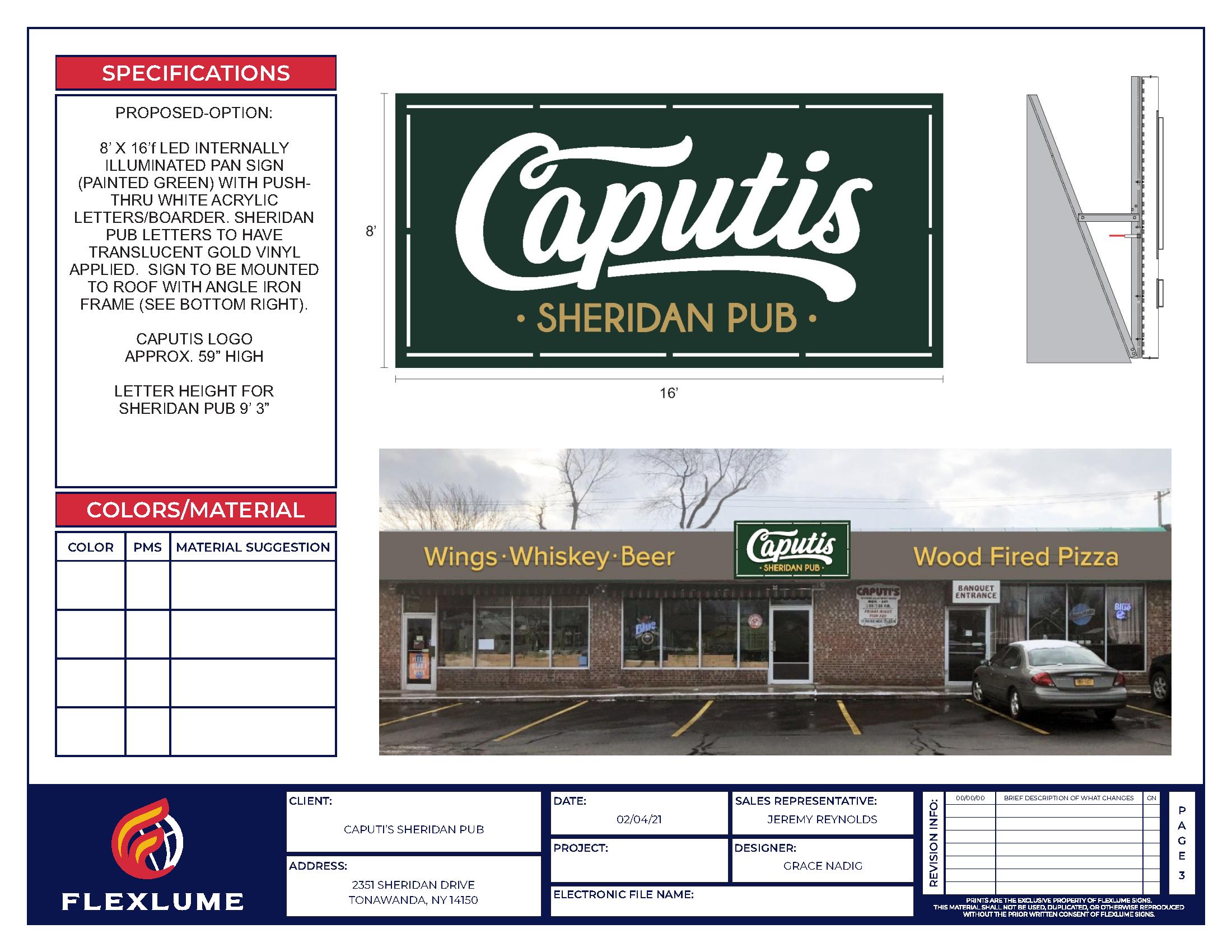 Caputis Sheridan Pub Sign Design Rendering