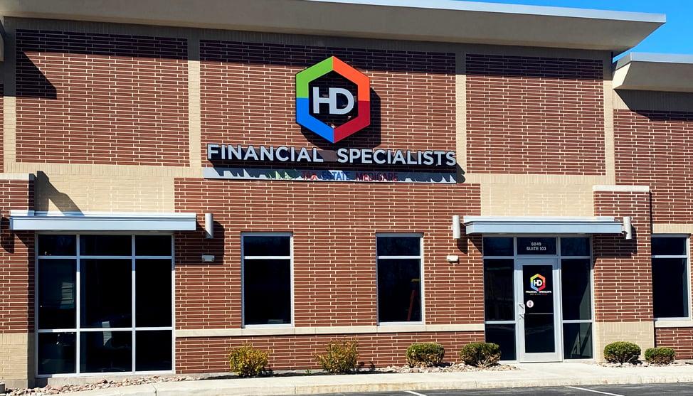 HD Financial - Custom Channel Letter Logo Sign Installed - Daytime 3