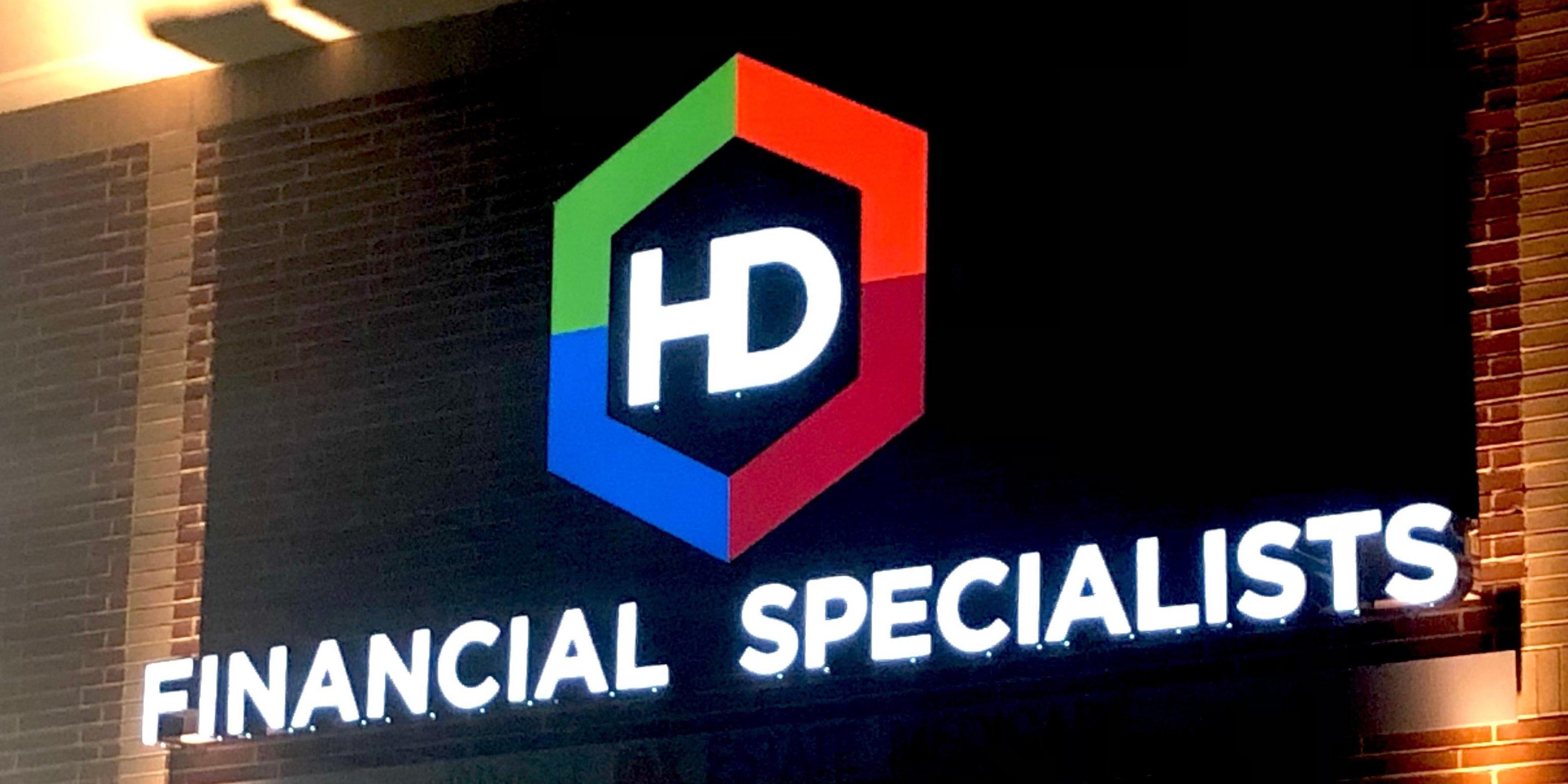 HD Financial - Custom Channel Letter Logo Sign Installed - Nighttime 5